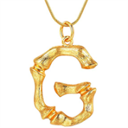 Gold Bamboo Alphabet / letter necklace - G
