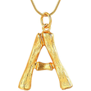 Gold Bamboo Alphabet / letter necklace - A