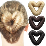 8 cm Love Heart Hair Donut witth fake hair - multiple colors