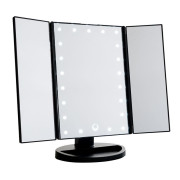 Uniq Hollywood Trifold Makeup Mirror with LED Light - Black