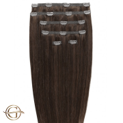 Clip on hair extensions #4 Chocolate Brown - 7 pieces - 60 cm | Gold24