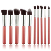 PRO Makeup Brushes Rose / Silver - 10 pcs