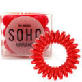 SOHO® Spiral Hair Elastics, STRAWBERRY RED - 3 pcs