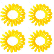 Spiral Hair Ties Yellow 4 Pieces