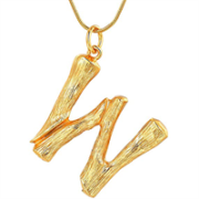 Gold Bamboo Alphabet / letter necklace - W