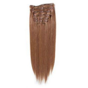 Clip on hair extensions 50 cm Redbrown 30#