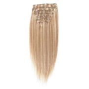 Clip on hair hair extensions 50 cm blonde mix  #18/613