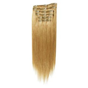 Clip on hair extensions 50 cm 27# golden blonde