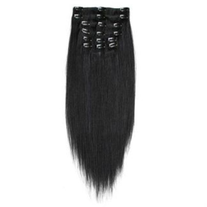 Clip on hair extensions 50 cm 1# Black
